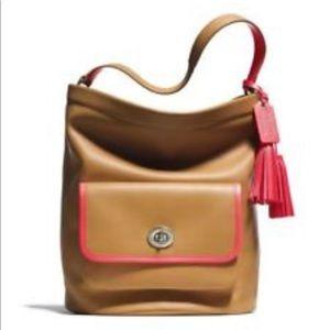 Coach Archive beautiful hobo handbag tan and coral